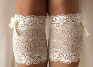 White Lace Boot Cuff Socks
