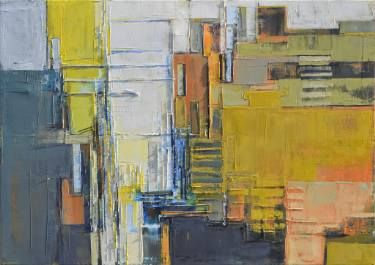"Abstract painting, large canvas art 100/70cm.  ""Perspective of the city"""
