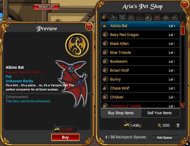 Aria Shop Bug
