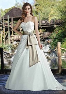A-Line Sweetheart Floor Length Semi-Cathedral Wedding Dress 50029