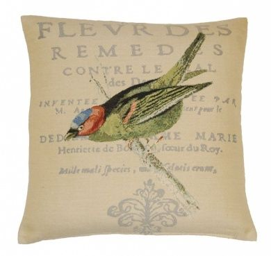 Bird Embroidered Cushion Cover 45x45cm (18inch) Natural/Green
