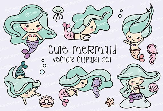 Premium Vector Clipart  Kawaii Mermaids  Cute Mermaids