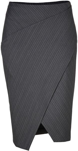 Anthracite Striped Stretch Wool Wrapped Pencil Skirt