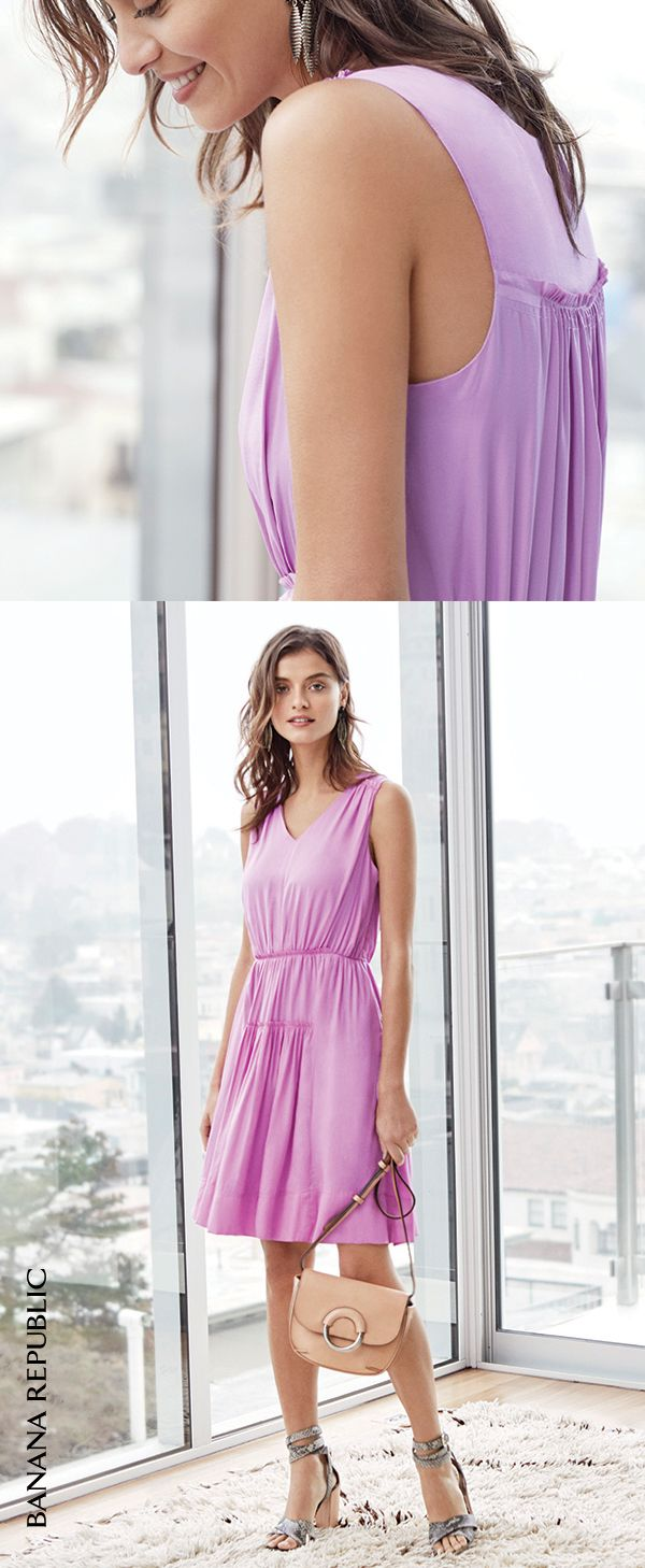 Look no further: Banana Republic's violet-hued v-neck goddess dress is the most versatile yet flattering dress of the season. Don't miss out. Shop this key spring dress (and more like it) now!