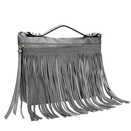 Aibag Genuine Leather Fringe Studded Top-handle Bag *** Click on the image for additional details.