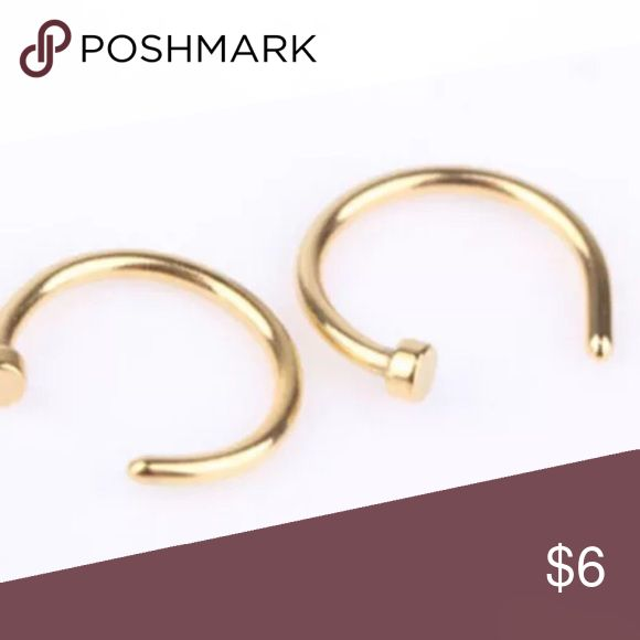 2 Gold 18G Nose Ring Hoops Brand new. Surgical steel nose ring hoops. 18G with stopper. Devin Nicoles Designs Jewelry