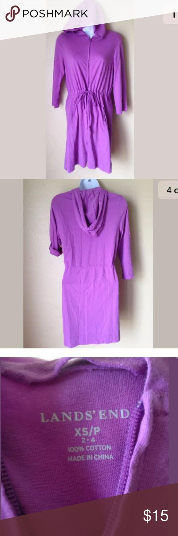 Lands' End Purple Hoodie Dress Zip Front XS Lands' End women's Purple Hoodie Dress Zip Front Cotton L/S Roll Up Sz XS Lands' End Dresses