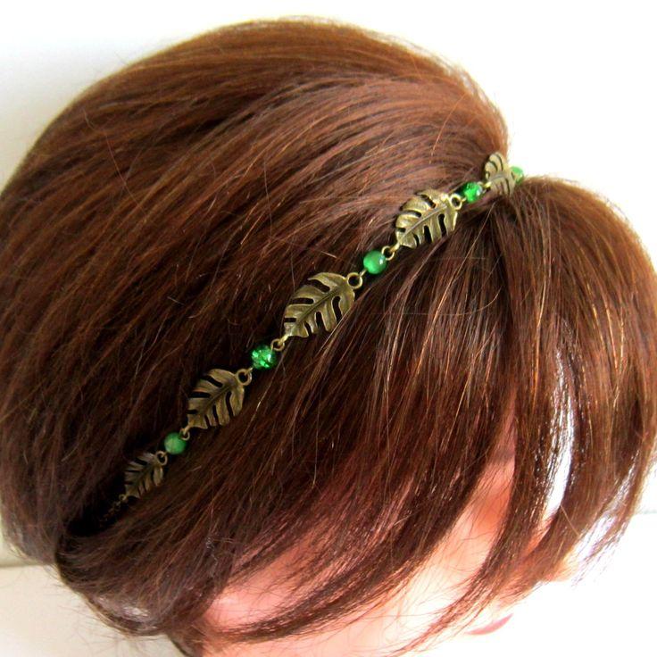 Headband feuille bronze et vert, mariage, bijou 2en1 collier et bijou de tête, bohème chic : Accessoires coiffure par color-life-bijoux