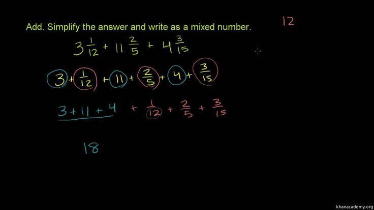 Dodawanie liczb mieszanych o różnych mianownikach