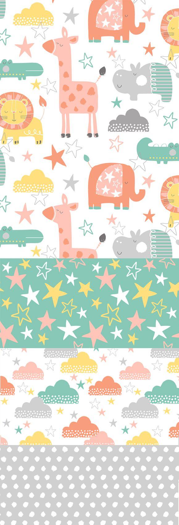 wendy kendall designs – freelance surface pattern designer » jungle stars, pineado por H A B I T A N 2 http://habitanods.blogspot.com.es