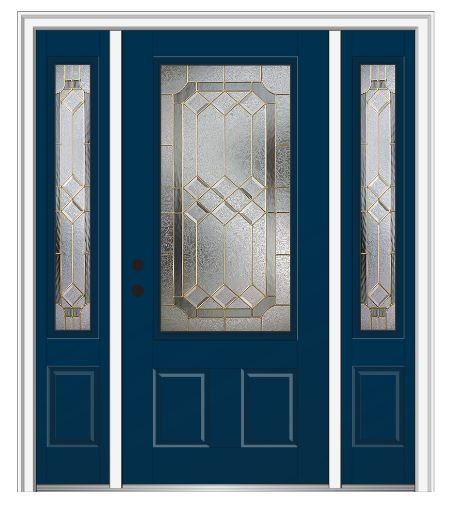 Shown is a Majestic Elegance 3/4 Lite 2-Panel Entry Door with Sidelites Painted Dark Knight. Like what you see? Visit DoorBuy.com!