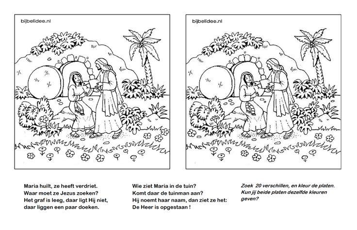 Pasen - Maria ziet Jezus in de tuin, kleurplaten & zoek de verschillen www.bijbelidee.nl