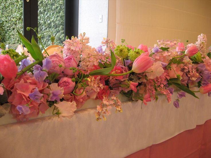 春 メインテーブル装花 ウェディング 装花 花 花ひろ 福井 鯖江 結婚式 ブライダル オリジナルウェディング
