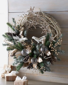 Frosted Twig Christmas Wreath traditional holiday decorations