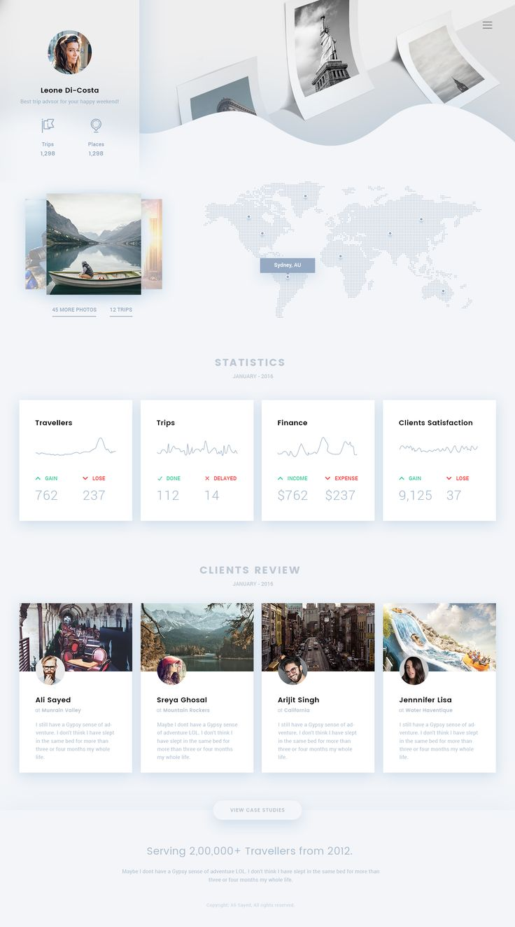 Travel agent ui dashboard statistics trend 2016