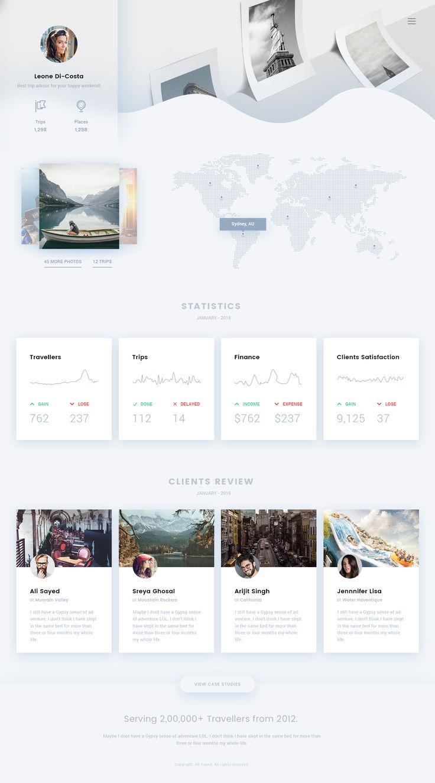 Travel agent ui dashboard statistics trend 2016