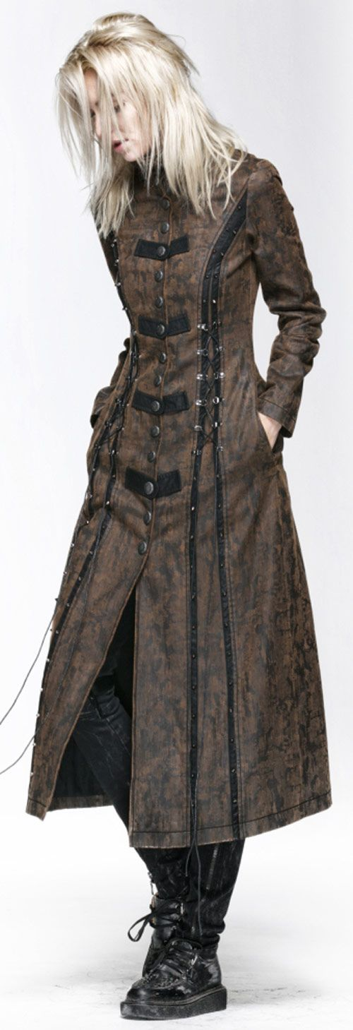 Long manteau marron avec laçage Steampunk Punk Rave Y-548