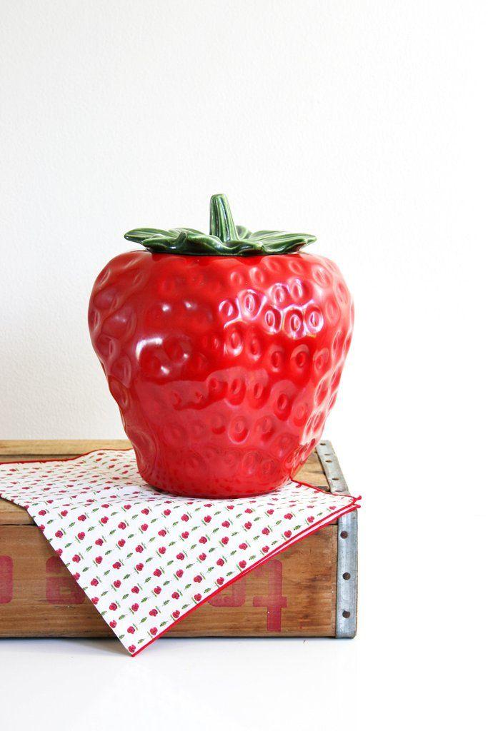 Vintage McCoy Strawberry Cookie Jar / Mid Century McCoy Ceramic Fruit Canister