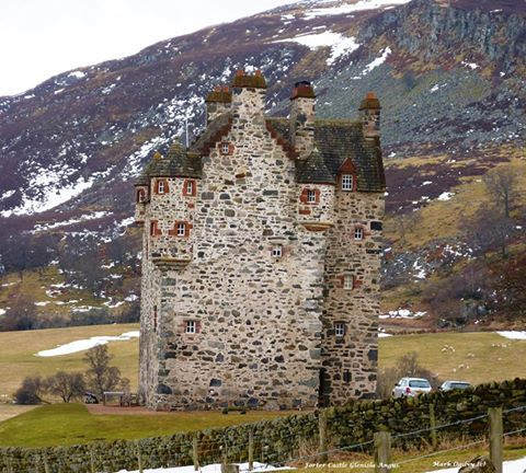 Forter Castle, Glenisla, Angus. Photo by M. Ogilvy.- love that stone!