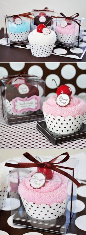 Party favors.. towels to look like cupcakes, so cute!