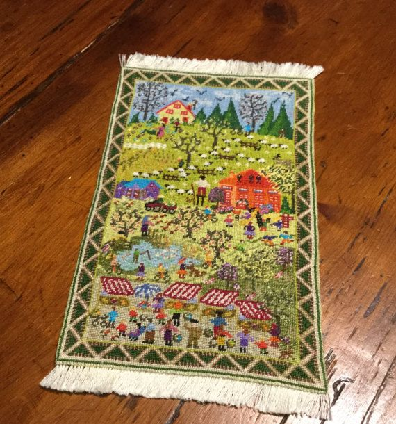 Miniature Carpet Embroidered With Small Dot On Silk Gauze