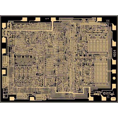 Gold interconnects highlight the Intel 4004 MPU layout complexity