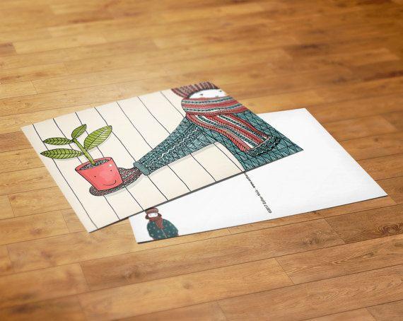 Postcard Plant Illustratie Esther Mols  Handgetekend, gescanned, gedigitaliseerd en bewerkt in Photoshop. Ze kunnen verstuurd worden maar in een lijst aan de muur staan ze ook prachtig.  • Details • Papier: gedrukt op 300 gram papier. De achterkant is beschrijfbaar Formaat DIN A5 (14,8 x 21 cm)