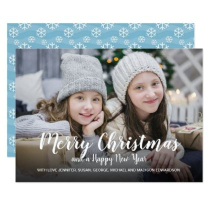 Merry Christmas Happy New Year snowflakes photo Card - script gifts template templates diy customize personalize special