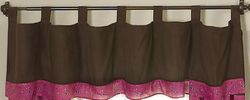 Chocolate brown and pink western valance