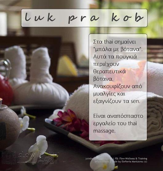 Τα πουγκιά βοτάνων είναι αναπόσπαστο τμήμα του Thai Massage, και γι' αυτό διδάσκουμε την τεχνική στο σεμινάριο: http://jointheflow.weebly.com/thai-massage.html Τα βασικά συστατικά είναι ο ευκάλυπτος και το τζίντζερ. Ναι, θα μάθετε να τα φτιάχνετε!