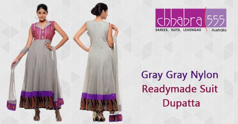 Addition of over 25 new designs every day, select Gray Gray Nylon Readymade SuitDupatta in @ $117.95 AUD from Chhabra555 that will give you stunning look on any occassion in Australia.