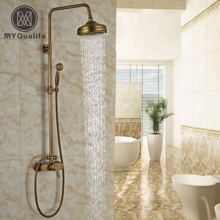 Hot Selling Antique Brass Finish Bathroom Rainfall With Spray Shower Durable Brass Construction Faucet Set #Affiliate