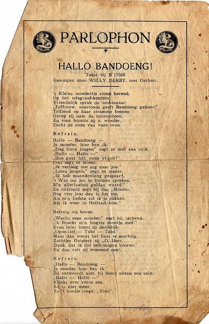 Hallo Bandoeng! Willy Derby bladmuziek by juffrouwjo