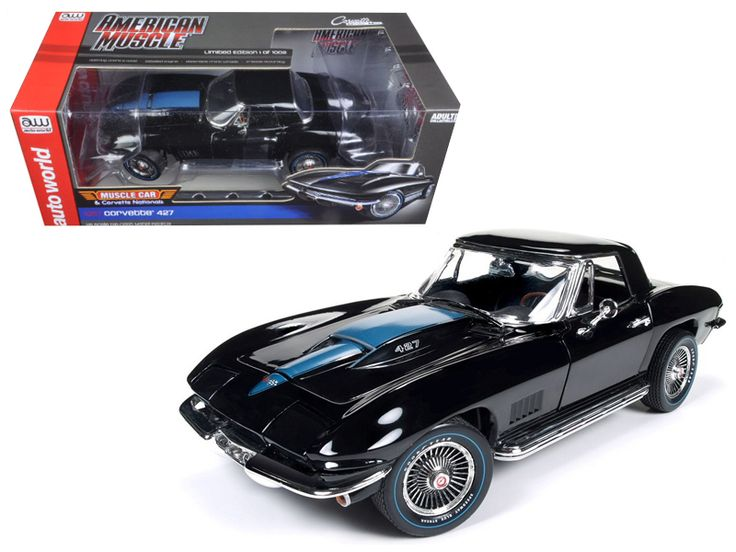1967 Chevrolet Corvette 427 Tuxedo Black (MCACN ) Limited Edition to 1002pcs 1/18 Diecast Model Car by Autoworld - Brand new 1:18 scale diecast car model of 1967 Chevrolet Corvette 427 Tuxedo Black (MCACN ) Limited Edition to 1002pcs die cast model car by Autoworld. 1967 was a banner year for the iconic CorvetteR. Dressed-out in stunning Tuxedo black paint with vivid black interior, and stuffed with the very rare 427 c.i.d., 430 HP, L88 motor, (experts claim that these engines actually…