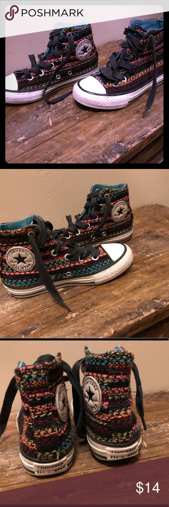 Kids Tapestry Converse High Tops size 11 Darling high tops! Probably more for girls tastes, but cute on any little feet. Has some wear but still look great. Converse Shoes Sneakers