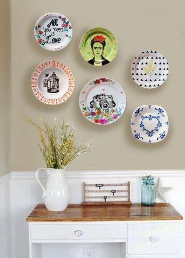 Pratos. Na parede. Inspiração. Composição. Pratos na parede.