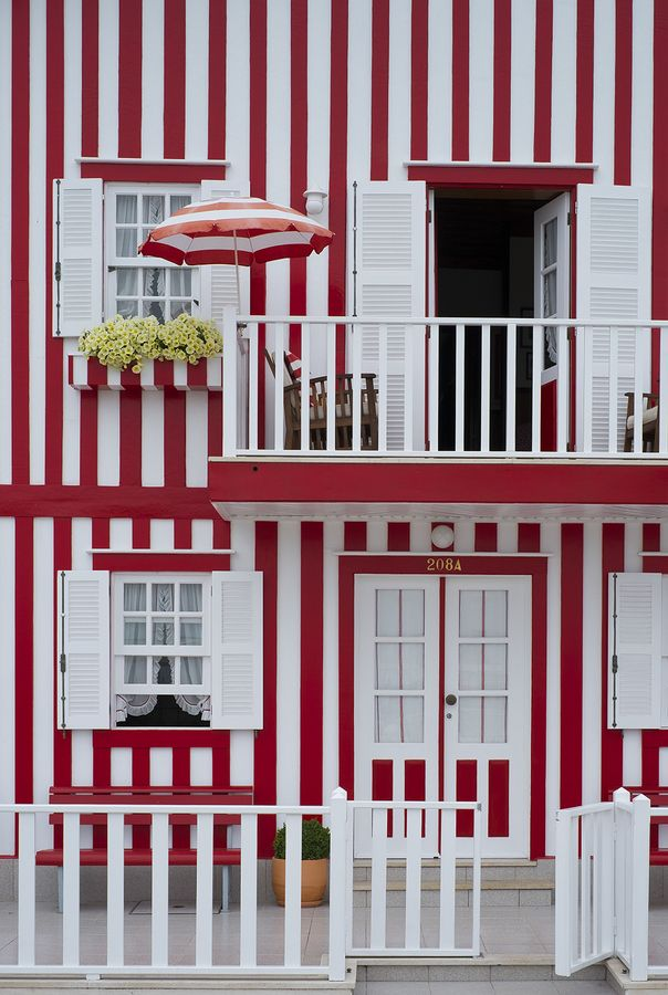 Red & White Striped House, Costa Nova, Portugal