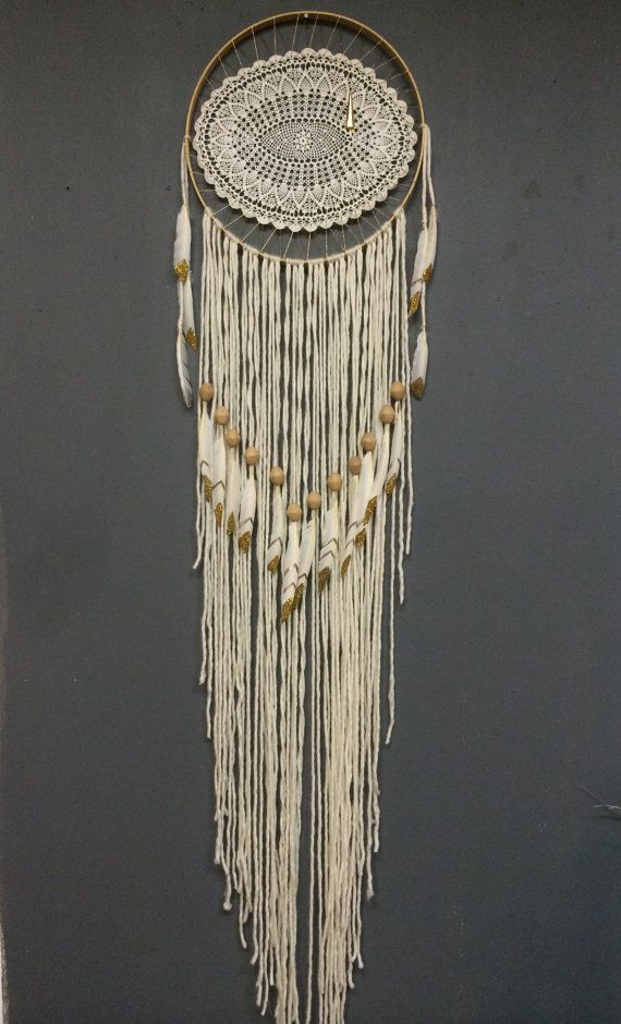 Large Elegant Eye White #Dreamcatcher with hand painted gold tipped feathers by Rachael Rice @rachaelrice