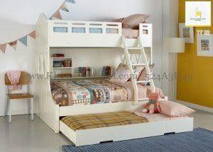 Tempat tidur tingkat modern duco putih