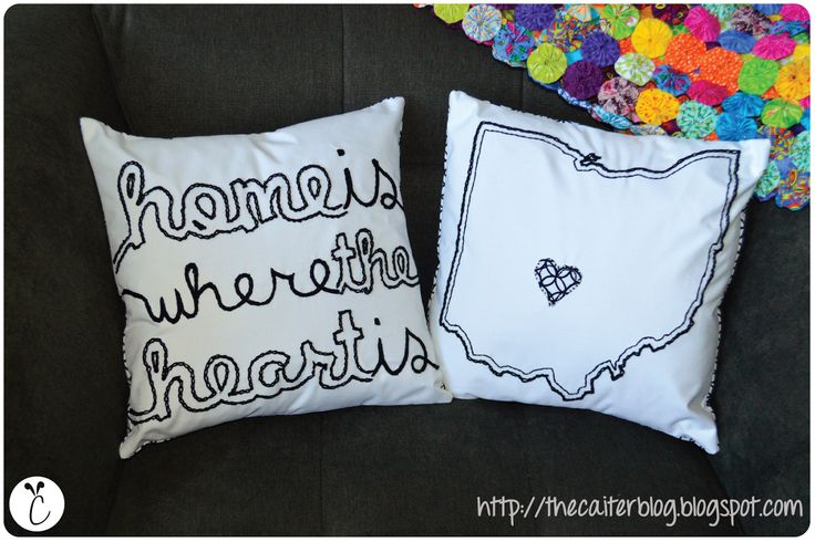The caiter state shape embroidered pillows if only