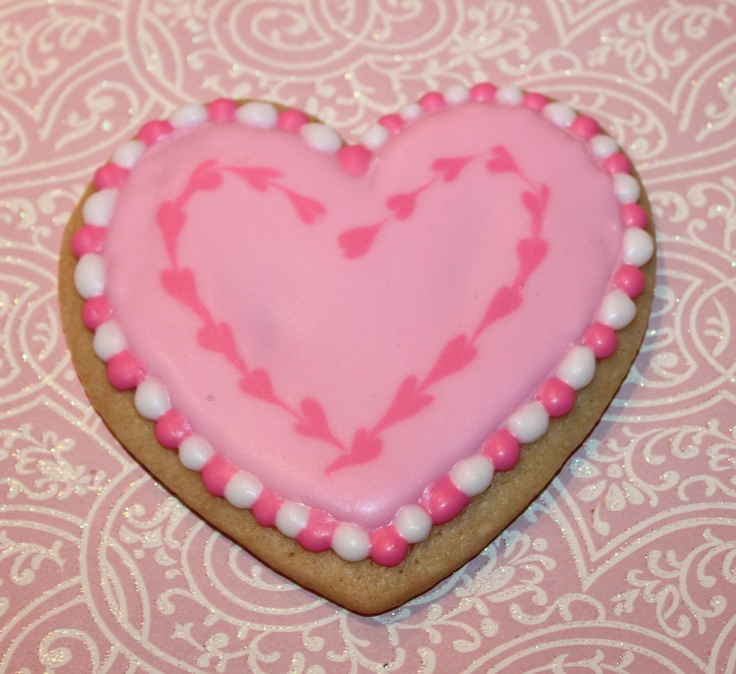 heart cookie with royal icing i made