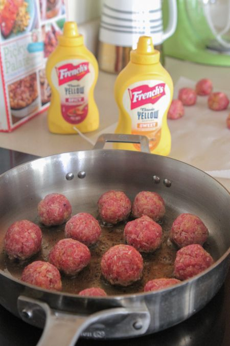 Homemade Party Meatballs with Sweet and Spicy Mustard Cream Sauce ...