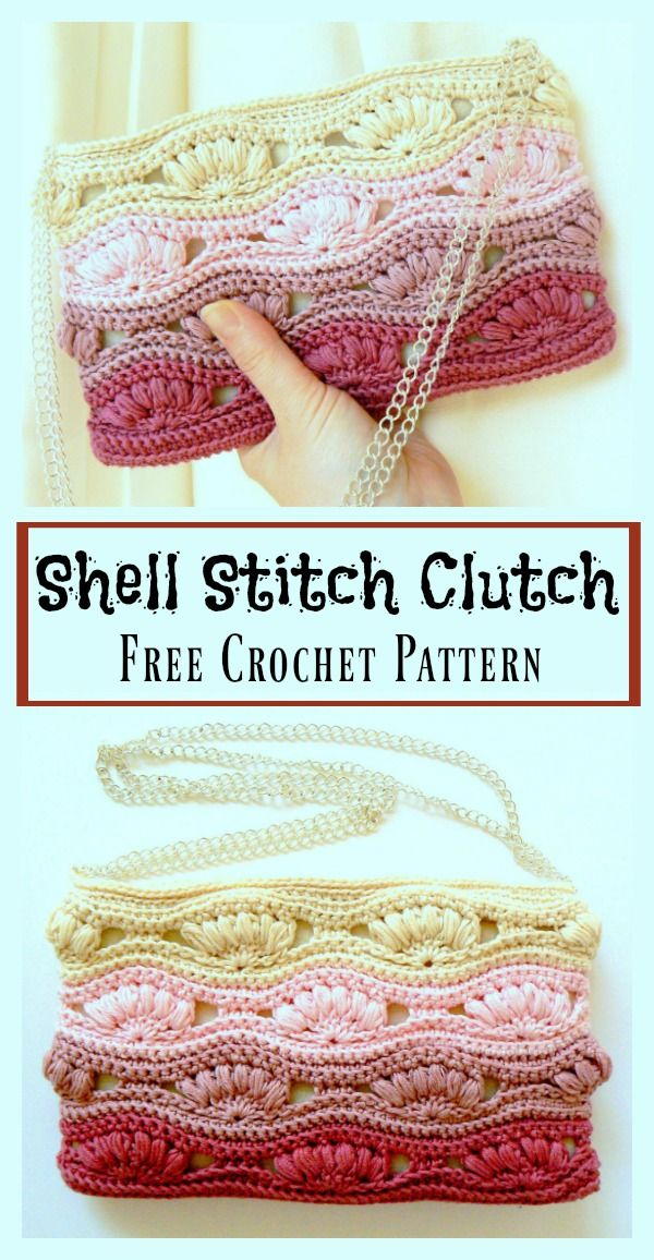 Shell Stitch Clutch Free Crochet Pattern | Purse | Pinterest ...