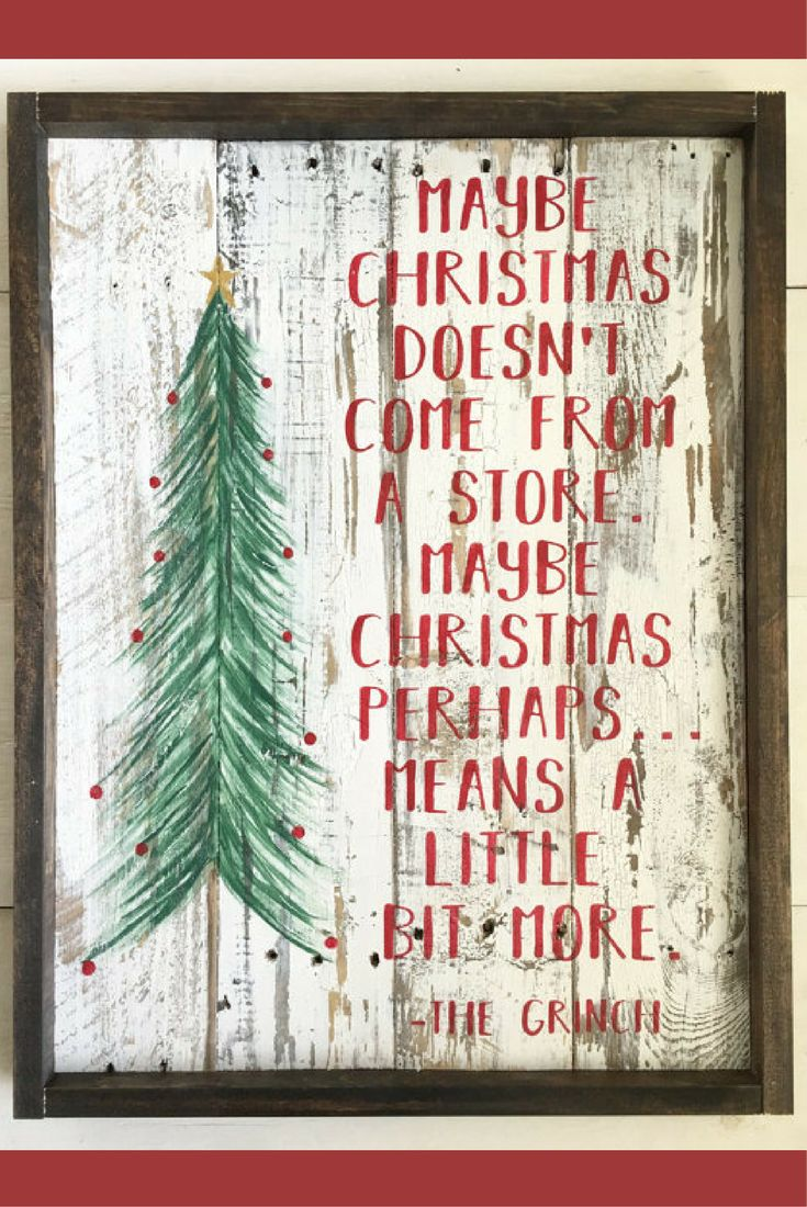 Love this Grinch quote!  IRustic Christmas sign, the grinch sign, holiday sign, reclaimed wood christmas, grinch quote, Rustic Christmas wall decor, Christmas wall art, Rustic Decor, Christmas tree sign #ad #affiliate