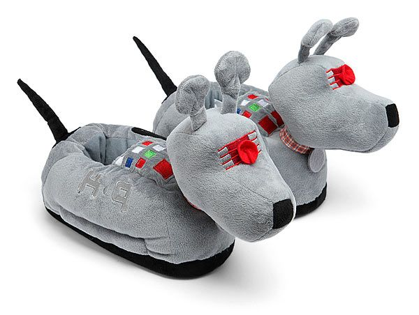 Keep your feet all warm and toasty Doctor Who style. These Doctor Who K-9 Slippers look just like the 4th Doctor's robotic dog companion, K-9. They are just softer. And for your feet. Good dog K-9! Good dog! These are great for