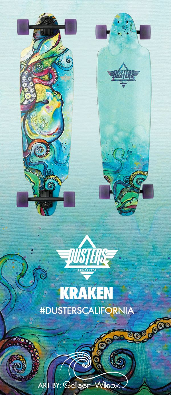 Longboarding & Art, the perfect combination. The Dusters Kraken Longboard featuring amazing artwork sent from Hawaii by our friend @cwilcoxart