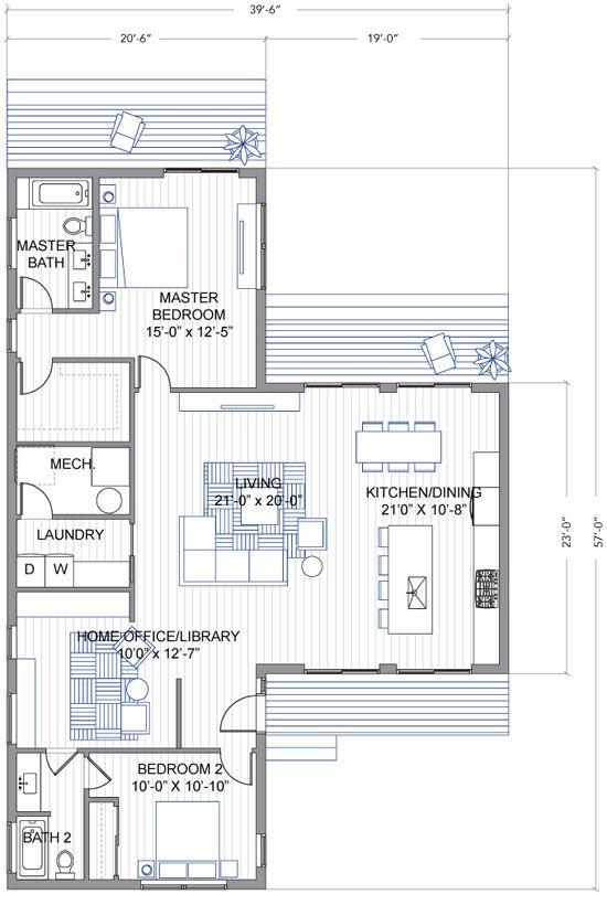 """Diseño de casa moderna de un piso en forma de """"T""""   Construye Hogar"""