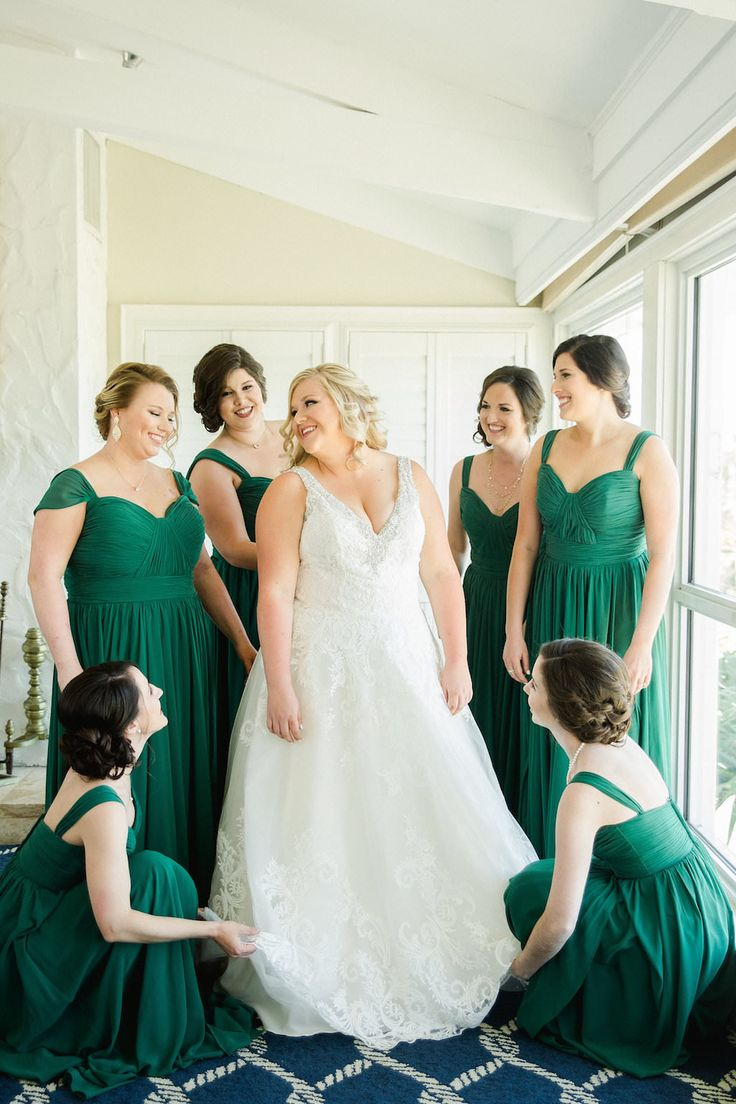 White And Green Old Florida Inspired Wedding Bridal Party Getting Ready Portrait Bride In V Neck Madeline Gardner Dress Bridesmaids