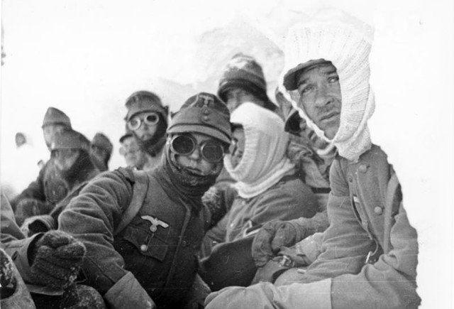 A group of German Gebirgsjägers (mountain troops) in action in Narvik, Norway, in 1940.
