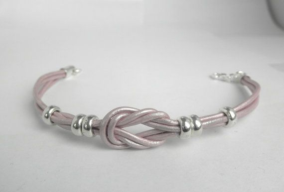 Metallic Leather Love Knot Bracelet Infinity by MarisaDianeDesigns, $18.00